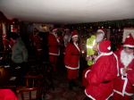 Santas outside the Pleasure Boat